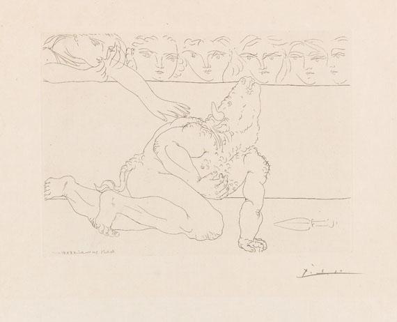Pablo Picasso - Minotaure mourant et jeune femme pitoyable