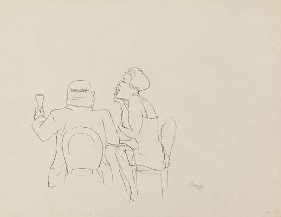 George Grosz - Im Café / Sitzende im Profil