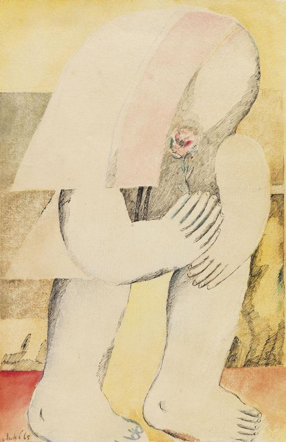 Horst Antes - Figur nach rechts mit Rose