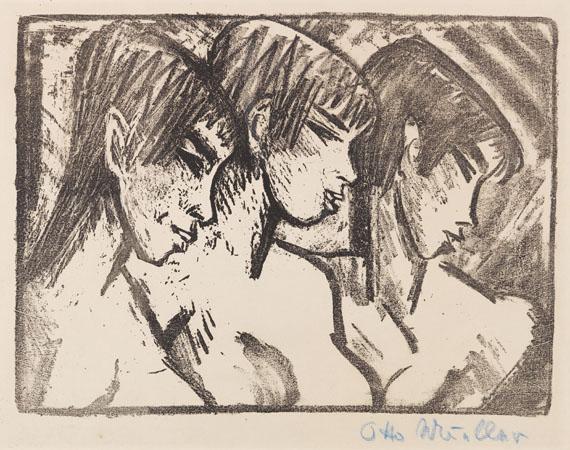 Otto Mueller - Drei Mädchen im Profil (Drei Mädchenköpfe)