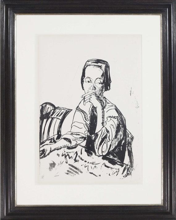 Erich Heckel - Sitzende Frau am Tisch - Rahmenbild