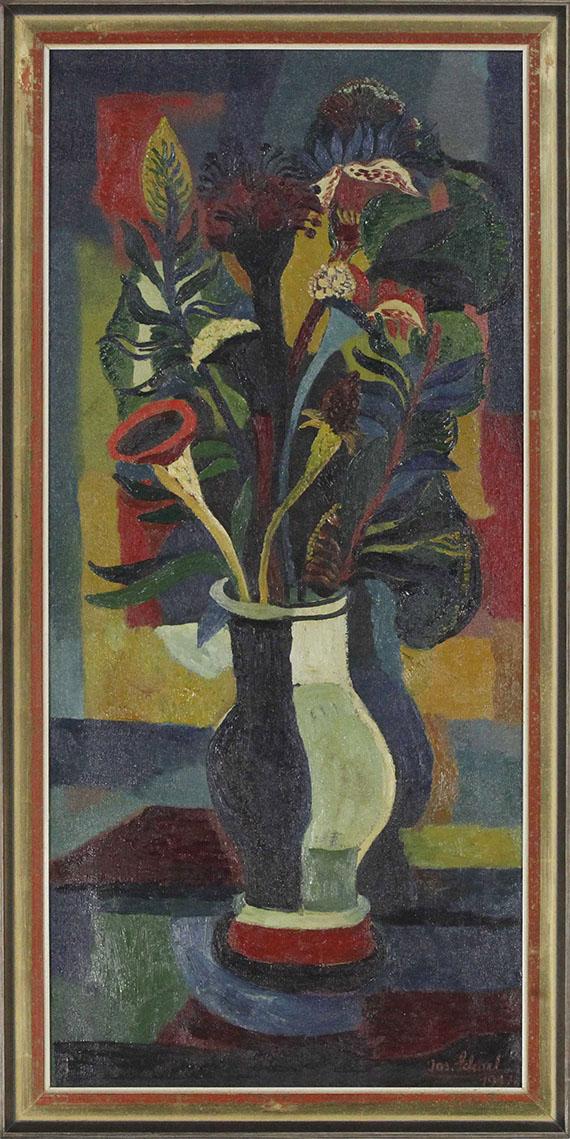 Josef Scharl - Blumen in einer bauchigen Vase - Rahmenbild
