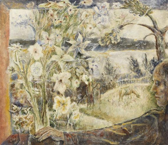 Albert Bloch - Flowers in a White Night (Beata tranquillitas)
