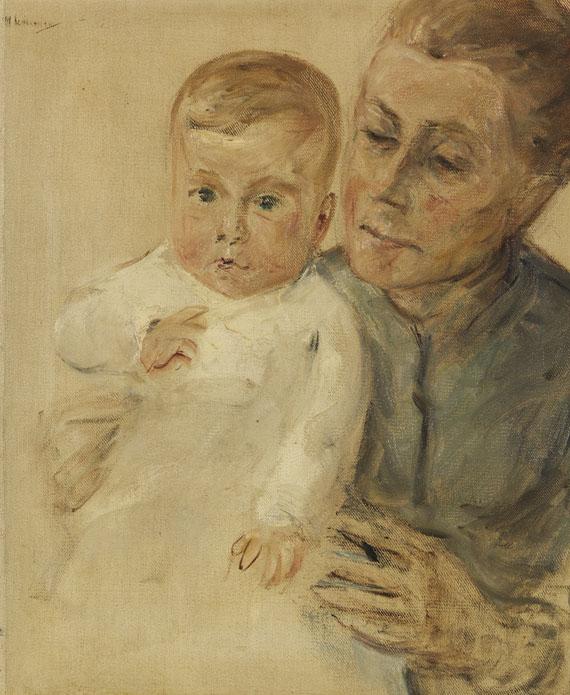 Max Liebermann - Enkelin Maria auf dem Arm der Kinderfrau