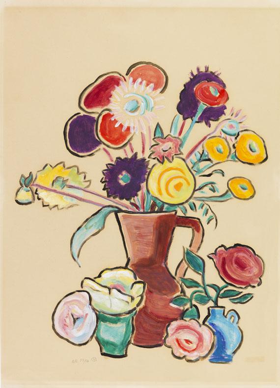 Gabriele Münter - Blumenstillleben mit rotem Krug