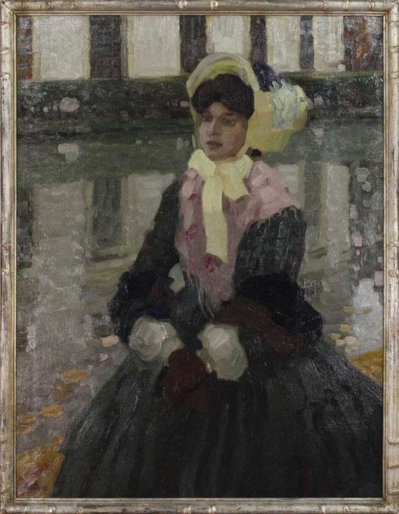 Leo Putz - Porträt Veronika Kirmaier im Schleissheimer Garten - Rahmenbild