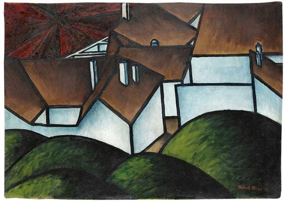 László Moholy-Nagy - Landschaft mit Häusern