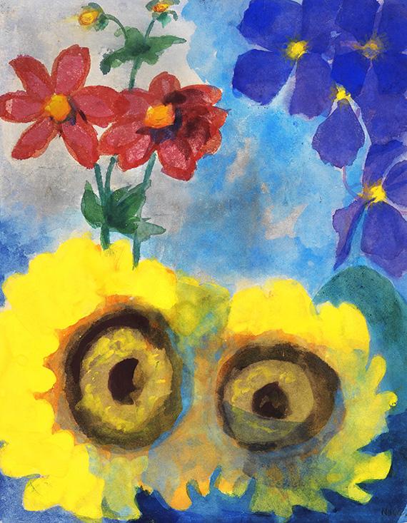 Emil Nolde - Sonnenblumen, rote und blaue Blüten