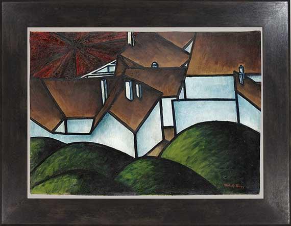 László Moholy-Nagy - Landschaft mit Häusern - Rahmenbild