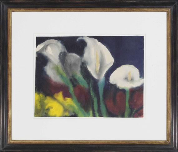 Emil Nolde - Weiße Calla über roten und gelben Blüten - Rahmenbild