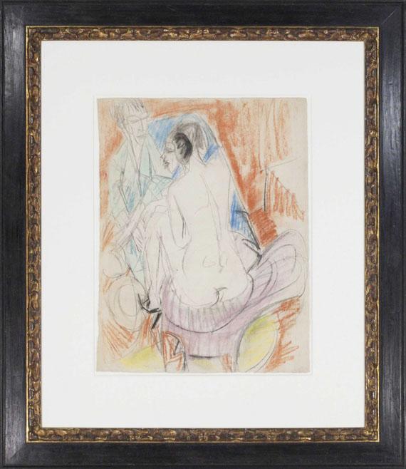 Ernst Ludwig Kirchner - Selbstporträt mit Gerda (Mann und Sitzende im Atelier) - Rahmenbild