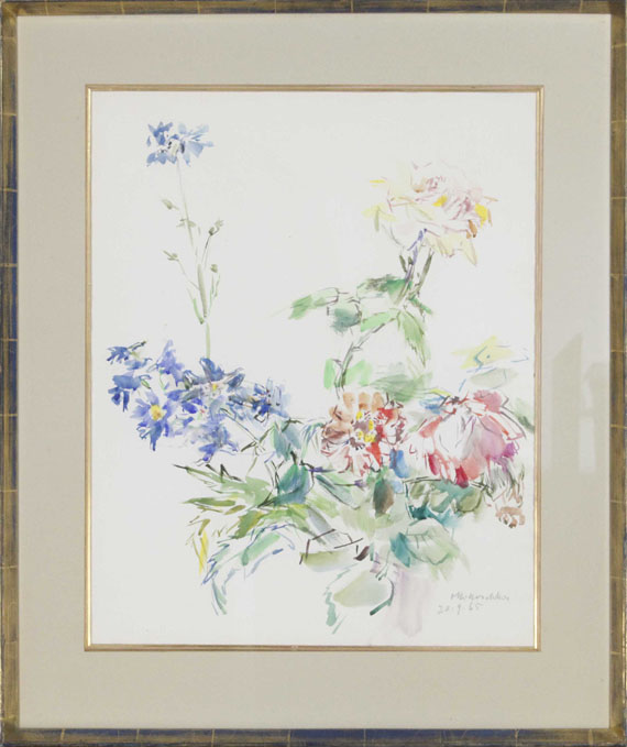 Oskar Kokoschka - Sommerblumen mit Rosen - Rahmenbild