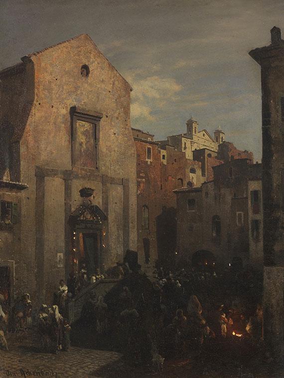 Oswald Achenbach - Italienische Stadtansicht bei einbrechender Nacht