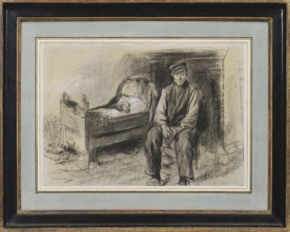 Max Liebermann - Bauer an der Wiege - Der Witwer - Rahmenbild