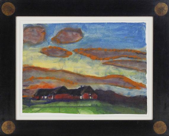 Emil Nolde - Hof Seebüll unter Abendhimmel - Rahmenbild