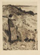 Henri Gabriel Ibels - Deux filettes sur un falaise bretonne