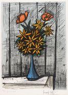 Bernard Buffet - Bouquet de marguerites aux deux roses (premier �tat)