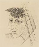 Karl Hofer - Kopf mit Schirmm�tze