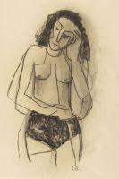 Karl Hofer - Weiblicher Halbakt mit aufgest�tztem Kopf