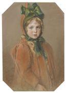 Wilhelm Carl Räuber - Mädchenporträt mit grüner Schleife (Die Tochter des Künstlers)