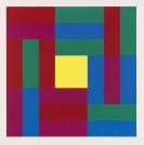 Richard Paul Lohse - Vier gleiche Gruppen mit quadratischem Zentrum und: Fünfzehn systematische vertikale Farbreihen in keilförmiger Ordnung