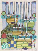 Hundertwasser, Friedensreich - Farbholzschnitt