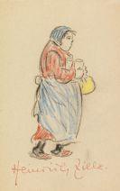 Heinrich Zille - Frau mit Biergläsern