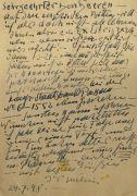 Alfred Kubin - Autograph. 1948. - Dabei: 7 Exlibris. Zus. 8 Tle.