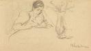 Max Liebermann - Bleistiftzeichnung: Lesende.
