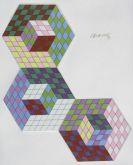 Victor Vasarely - Keramik- Hexa-3 ou Hommage aux chemins de fer Hongrois