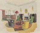 Architektur - 5 Bll. Innenarchitektur (Aquarellentw�rfe f. belg. Botschaft Kopenhagen), 1935