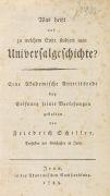 Friedrich von Schiller - Universalgeschichte?