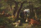 Friedrich Voltz - Hirtenkinder im Wald mit K�hen und Schafen