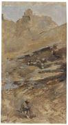 Franz Roubaud - Flusstal mit Burgruine, im Vordergrund ein Sch�fer mit seiner Herde