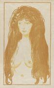 Edvard Munch - Weib mit rotem Haar und gr�nen Augen. Die S�nde