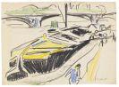 Ernst Ludwig Kirchner - Schleppkahn am Elbufer im Hintergrund die Carolabr�cke