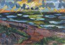 Hermann Max Pechstein - St�rmisches Wetter an der Ostsee (Beschienene Wellen)