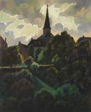 Adolf Erbsl�h - Nach dem Gewitter (Die Kirche in Manderscheid)