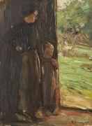 Max Liebermann - B�uerin mit Kind unter der T�r - Frau und Kind in der Haust�r