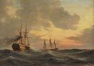 Anton Melbye - Dampfsegler und Dreimaster auf bewegter See