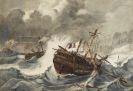 Frankreich - Schiffbruch an felsiger Küste