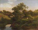 Eduard Leonhardi - Flussaue mit Bauernhaus und Viehhirte