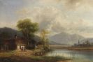Anton Doll - Oberbayerische Landschaft mit Waschhaus am See