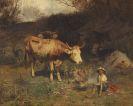 Otto Gebler - Rast des Hirtenjungen mit seinen Tieren