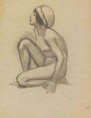 Ludwig von Hofmann - Kniender weiblicher Akt mit Kappe