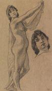Ludwig von Hofmann - Studienblatt mit stehendem weiblichem Akt mit Tuch sowie Kopfstudie