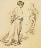Ludwig von Hofmann - Stehende Frauen mit Gewandstudien