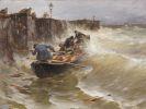 Joseph Wopfner - Gef�hrliche Anlandung der Holzfischer am Bodensee