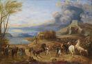 Deutschland - Südliche Küstenlandschaft (Taormina?) mit Kloster und rastender Reitergruppe