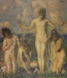 Carl von Marr - Vier weibliche Akte auf einer Wiese mit Schwertlilien